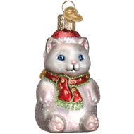 Old World Christmas Winter Kitty Glass Tree Ornament, 3-in