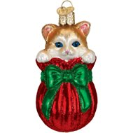 "Old World Christmas ""Letting The Cat Out Of The Bag"" Glass Tree Ornament, 3.5-in"