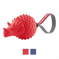 Frisco Push to Mute Fetch Squeaking Triceratops Dog Toy, Red