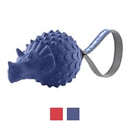 Frisco Push to Mute Fetch Squeaking Triceratops Dog Toy, Blue