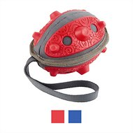 Frisco Plush with Rubber Tug & Fetch No Squeak Football Dog Toy, Red
