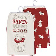 "Primitives By Kathy ""Dear Santa, Define Good"" Dish Towel Set"