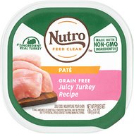 Nutro Grain-Free Juicy Turkey Recipe Adult Pate Dog Food Trays, 3.5-oz, case of 24