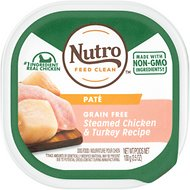Nutro Grain-Free Steamed Chicken & Turkey Recipe Adult Pate Dog Food Trays, 3.5-oz, case of 24