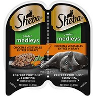 Sheba Perfect Portions Garden Medleys Chicken & Vegetables Entree in Gravy Grain-Free Cat Food Trays, 2.6-oz, case of 24 twin-packs