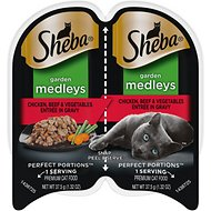 Sheba Perfect Portions Garden Medleys Chicken, Beef & Vegetables Entree in Gravy Grain-Free Cat Food Trays, 2.6-oz, case of 24 twin-packs