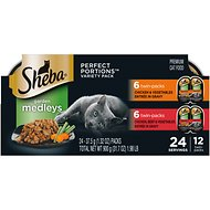 Sheba Perfect Portions Garden Medleys Chicken, Beef & Vegetables Entree in Gravy Variety Pack Grain-Free Cat Food Trays, 2.6-oz, case of 12 twin-packs