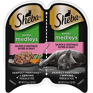 Sheba Perfect Portions Garden Medleys Salmon & Vegetables Entree in Gravy Grain-Free Cat Food Trays, 2.6-oz, case of 24 twin-packs