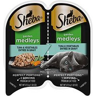 Sheba Perfect Portions Garden Medleys Tuna & Vegetables Entree in Gravy Grain-Free Cat Food Trays, 2.6-oz, case of 24 twin-packs