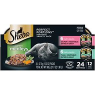 Sheba Perfect Portions Garden Medleys Tuna, Salmon & Vegetables Entree in Gravy Variety Pack Grain-Free Cat Food Trays, 2.6-oz, case of 12 twin packs