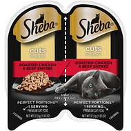 Sheba Perfect Portions Roasted Chicken & Beef Entree Cuts in Gravy Grain-Free Cat Food Trays, 2.6-oz, case of 24 twin-packs