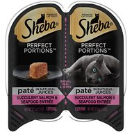 Sheba Perfect Portions Succulent Salmon & Seafood Entree Pate Grain-Free Cat Food Trays, 2.6-oz, case of 24 twin-packs