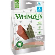 WHIMZEES Holiday Tree & Snowman Variety Pack Dental Dog Treats, Small, 28 count