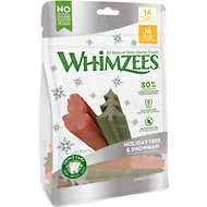 WHIMZEES Holiday Tree & Snowman Variety Pack Dental Dog Treats, Medium, 14 count