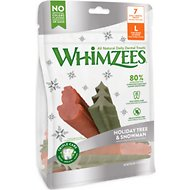 WHIMZEES Holiday Tree & Snowman Variety Pack Dental Dog Treats, Large, 7 count