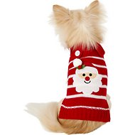 Pup Crew Red Striped Santa Dog & Cat Sweater, XX-Small