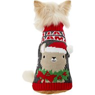 "Pup Crew ""Fa La La Llama"" Dog & Cat Sweater, X-Small"