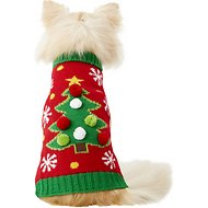 Pup Crew Christmas Tree Dog Dog & Cat Sweater, X-Small