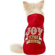 "Pup Crew ""Joy To The World"" Red Dog Hoodie, X-Small"