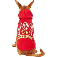 "Pup Crew ""Joy To The World"" Red Dog Hoodie, Medium"