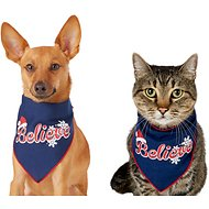"Pup Crew Holiday ""Believe"" Dog & Cat Bandana, X-Small/Small"