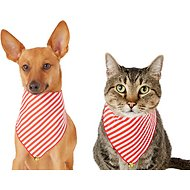 Pup Crew Candy Cane Striped w/ Bell Dog & Cat Bandana, X-Small/Small