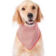Pup Crew Candy Cane Striped w/ Bell Dog & Cat Bandana, Medium/Large