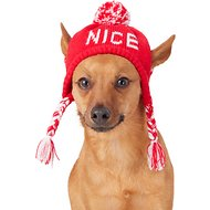 Pup Crew Naughty/Nice Reversible Dog Knit Hat, X-Small/Small