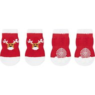 Pup Crew Non-Skid Red & White Reindeer Dog Socks, X-Small/Small