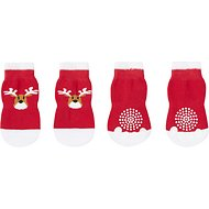 Pup Crew Non-Skid Red & White Reindeer Dog Socks, Medium/Large