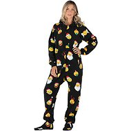 Footed Pajamas Holiday Emoji Unisex Adult Fleece Pajamas, Medium