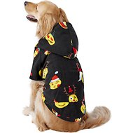 Footed Pajamas Holiday Emoji Dog Fleece Pajamas, X-Large