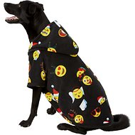 Footed Pajamas Holiday Emoji Dog Fleece Pajamas, XX-Large