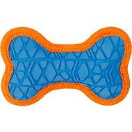 All Kind Toss & Play No Squeak Bone Dog Toy, Small, Blue Body/Orange Trim