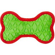 All Kind Toss & Play No Squeak Bone Dog Toy, Small, Green Body/Red Trim