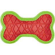 All Kind Toss & Play No Squeak Bone Dog Toy, Small, Red Body/Green Trim