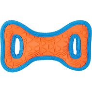 All Kind Toss & Play No Squeak Bow Dog Toy, Small, Orange Body/Blue Trim