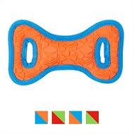 All Kind Tug & Fetch No Squeak Bow Dog Toy, Small, Orange/Blue