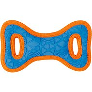 All Kind Toss & Play No Squeak Bow Dog Toy, Small, Blue Body/Orange Trim