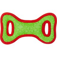 All Kind Toss & Play No Squeak Bow Dog Toy, Small, Green Body/Red Trim