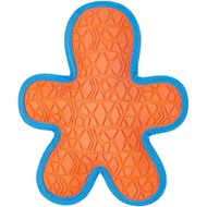 All Kind Toss & Play No Squeak Gingerbread Man Dog Toy, Orange Body/Blue Trim