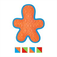 All Kind Tug & Fetch No Squeak Gingerbread Man Dog Toy, Orange/Blue
