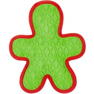 All Kind Toss & Play No Squeak Gingerbread Man Dog Toy, Green Body/Red Trim