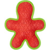 All Kind Toss & Play No Squeak Gingerbread Man Dog Toy, Red Body/Green Trim