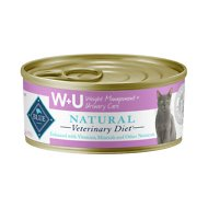 Blue Buffalo Natural Veterinary Diet WU Weight Management + Urinary Care Grain-Free Canned Cat Food, 5.5-oz, case of 24