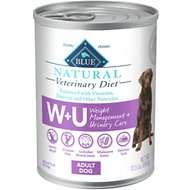 Blue Buffalo Natural Veterinary Diet WU Weight Management + Urinary Care Grain-Free Canned Dog Food, 12.5-oz, case of 12