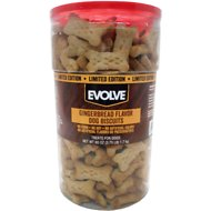 Evolve Gingerbread Biscuit Dog Treats, 60-oz tub