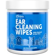 Zesty Paws Aloe Vera & Chamomile + Coconut Oil Lavender Scent Ear Cleaning Wipes, 100 count