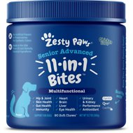 Zesty Paws 8-in-1 Multivitamin Bites with MSM & Curcumin + Cranberry & Lutein Senior Chicken Flavor Dog Supplement, 90 count