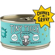 Tiny Tiger Chunks in Gravy Seafood Recipe Grain-Free Canned Cat Food